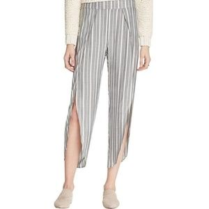 Free People Striped Side Slit Cropped Pant…